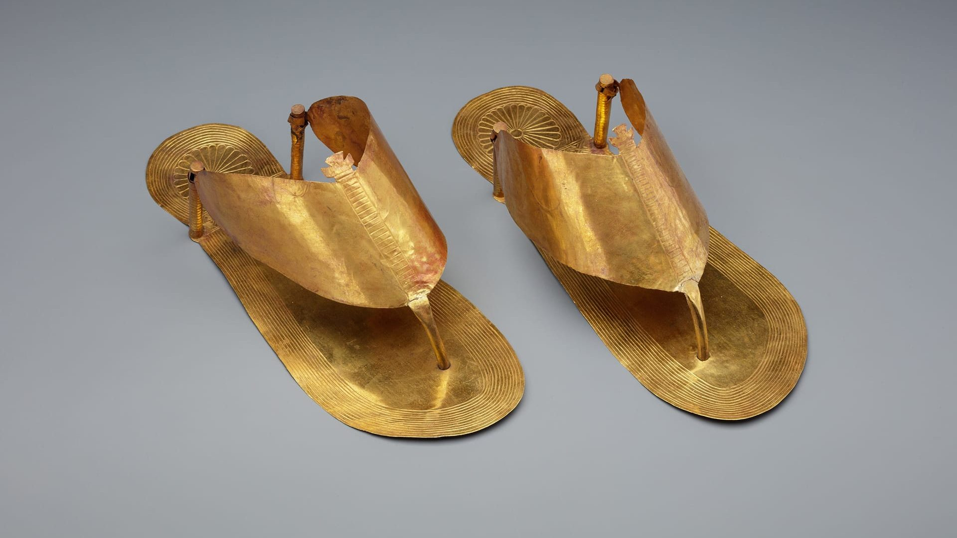 Funerary gold sandals that go back to 1479 B.C Egypt