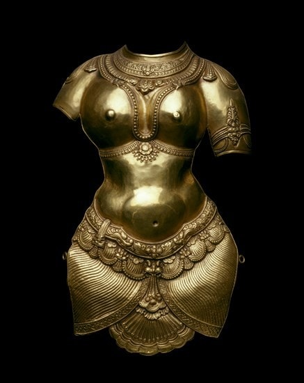 19th century Indian gold kavacham or pectoral shield