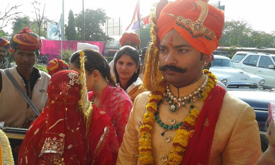 Karni Singh Sodha, the bridegroom, arriving for the wedding.