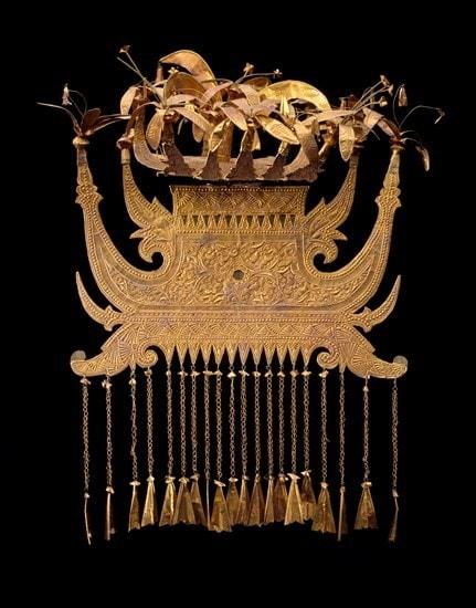 Gold headdress of the Minangkabau people of Sumatra Indonesia
