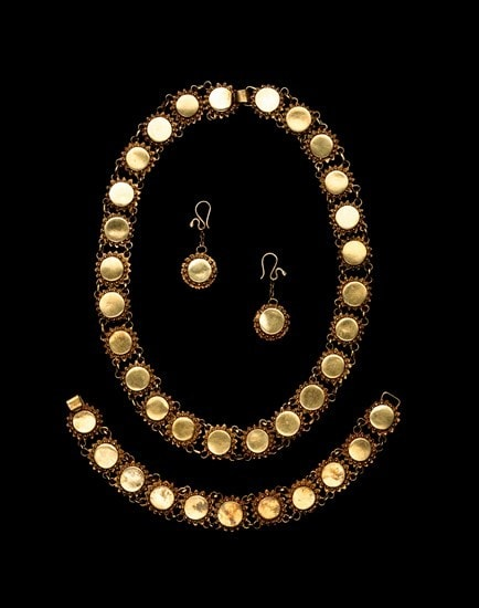 Gold necklace, bracelet and earrings of the Akan Peoples of Ghana, Africa