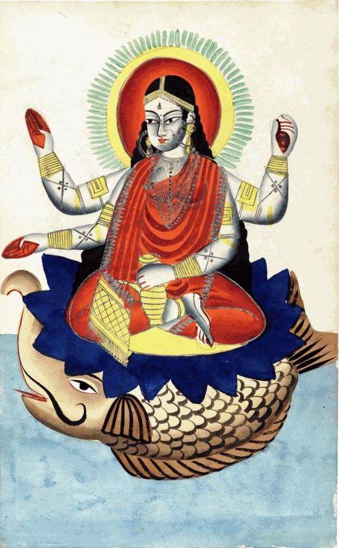 Ganga riding her makara vahana. Kalighat Painting.