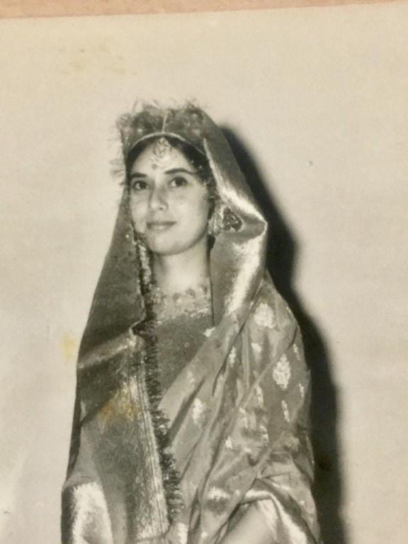 Gayatri's mother in a Kashmiri wedding dress