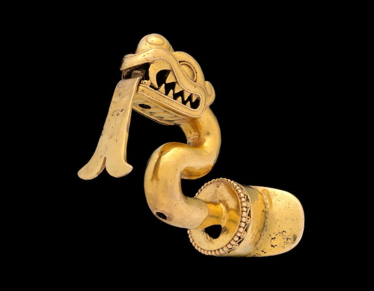 Serpent ornament for the lower lip in Aztec culture.