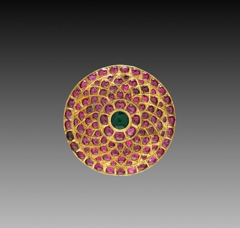 Hair Ornament, jadai naagam or jadai billai. South India, 17th century. Gold, emerald and rubies. Cleveland Museum of Art.