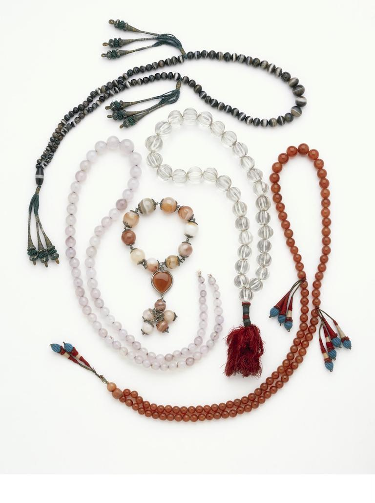 Prayer necklaces made with semi precious gems and crystal beads