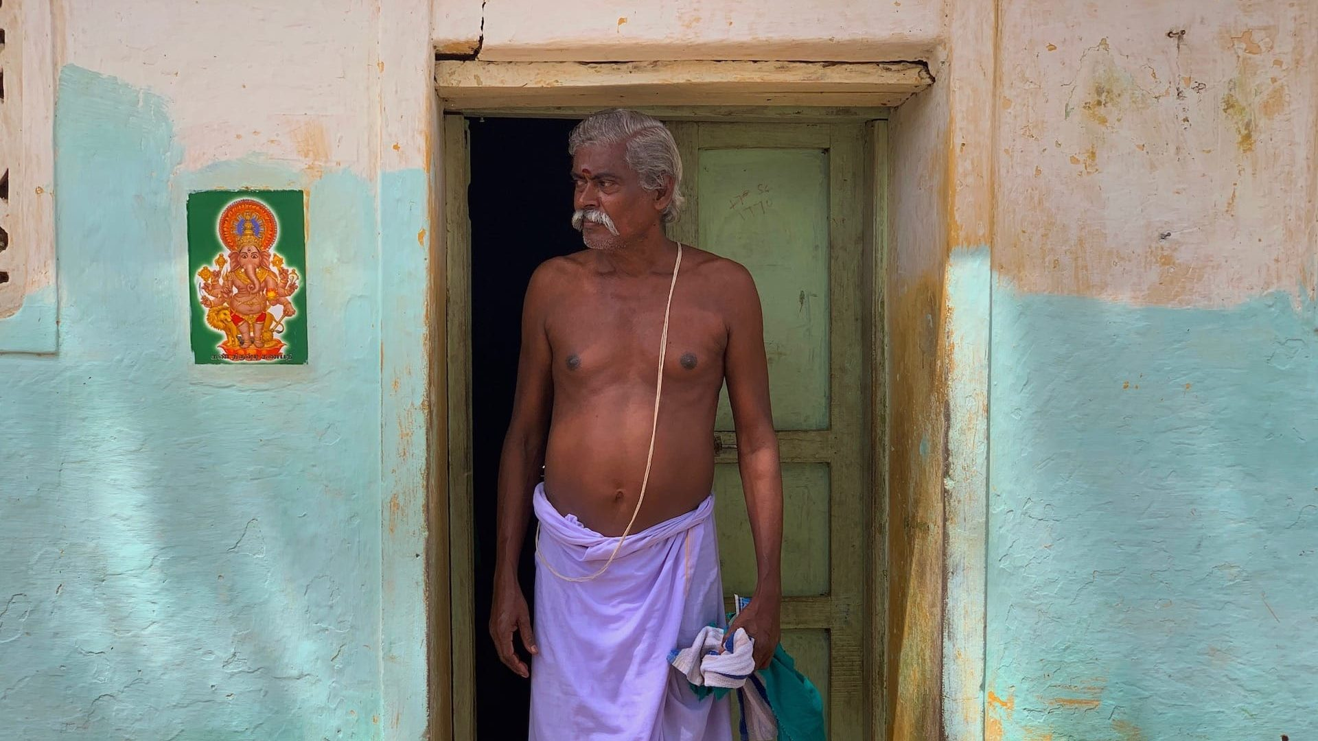 A man outside his home in a Chettinad village.