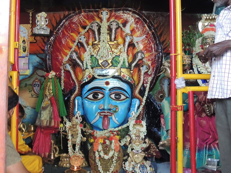 Kali protected by snakes