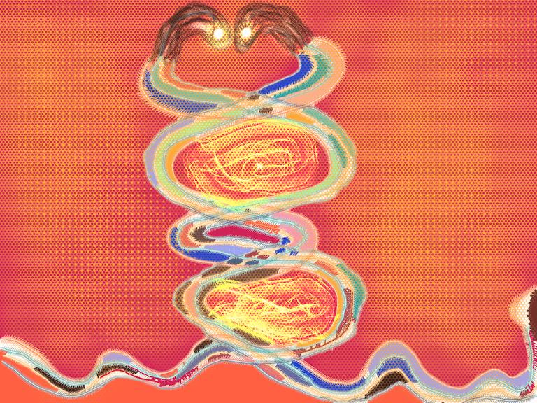 Twin snakes illustration