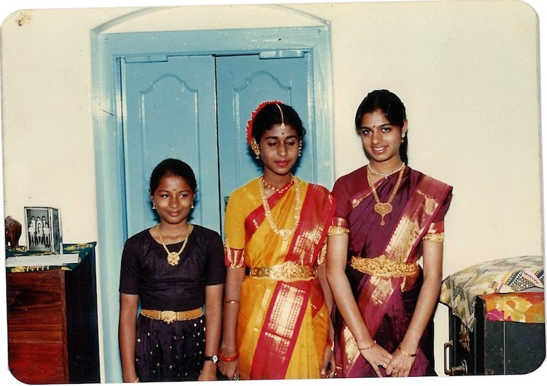 Ahalya childhood photo with typically Tamil jewellery and clothes