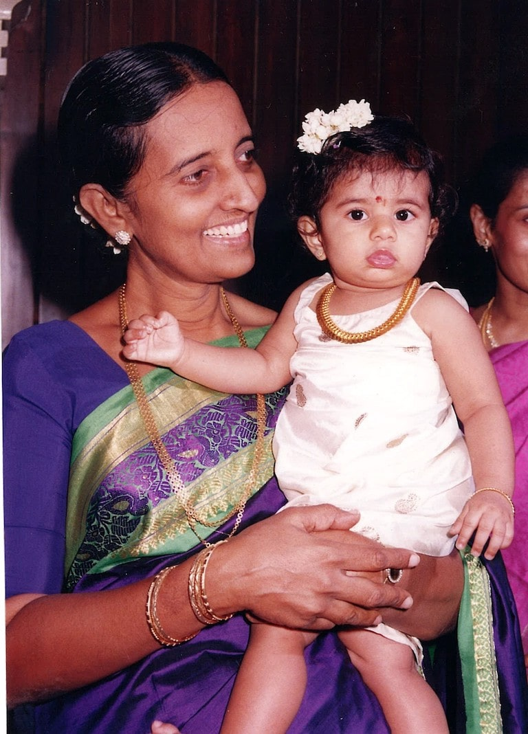 Ahalya's daughter, Anya in a small kasumala, or coin necklace