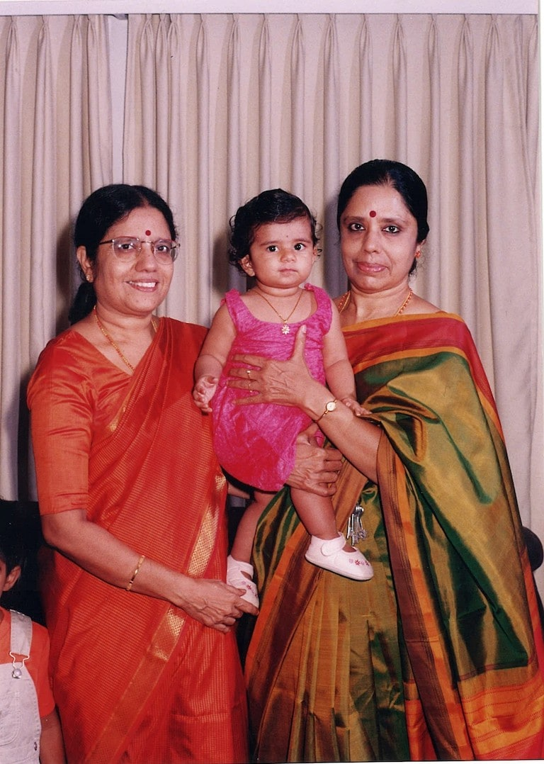 Ahalya's daughter Anya with her mother Swathanthra on left