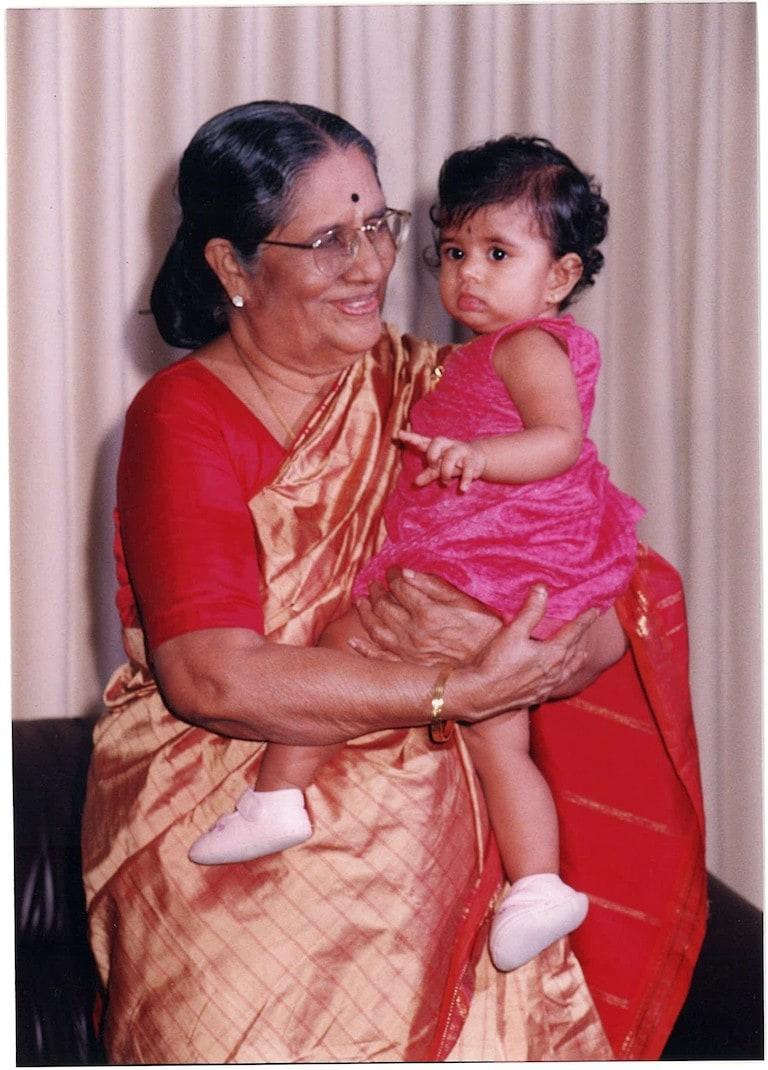 Ahalya's maternal grandmother with Ahalya's daughter Anya