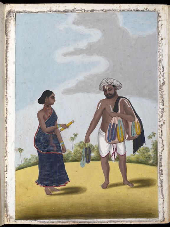 A glass-bangle-seller and his wife. 19th century, Tanjore.
