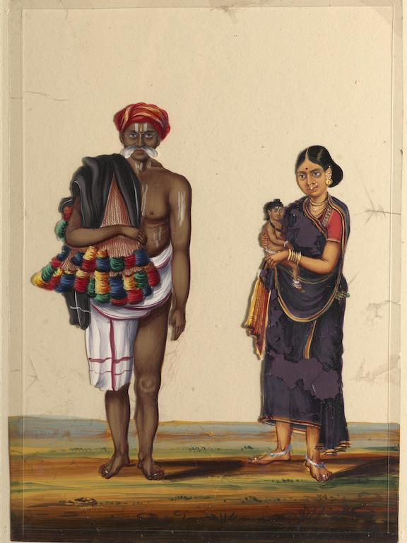 A Hindu bangle-seller with his wife and child. Trichy. 19th century.