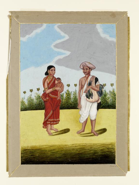 A bangle-seller and his wife. 19th century. Tanjore.