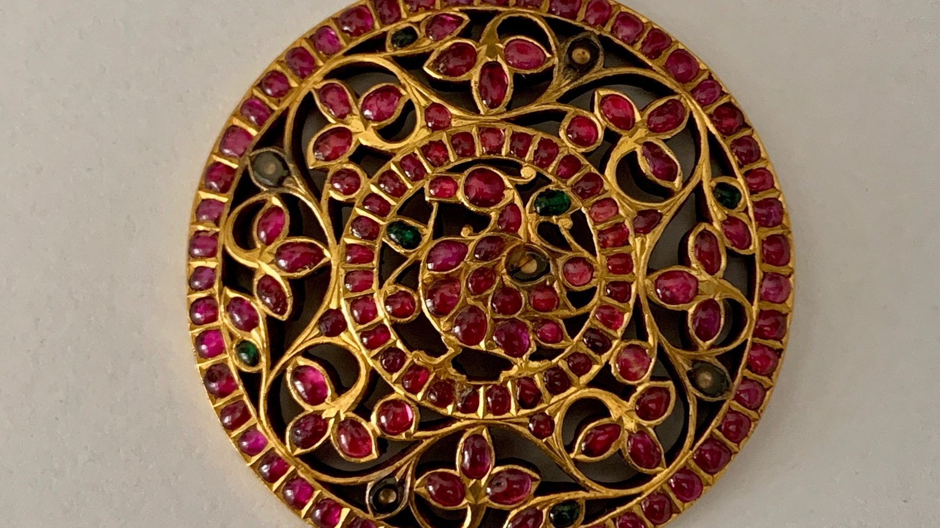 Antique Ruby Rakkodi (head ornament placed in the center of the back of the head. Just above the braid). Private collection.